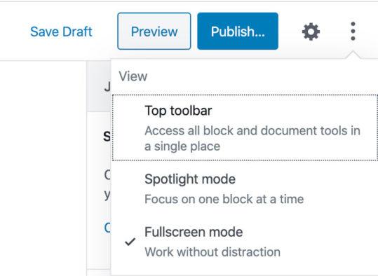 Wordpress 5.4 - Fullscreen Mode