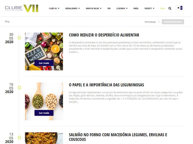 Website Clube VII - Blog