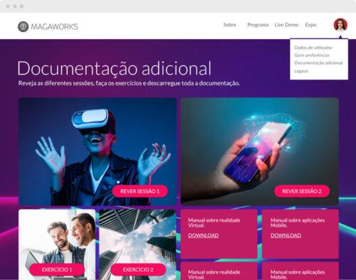Áreas exclusivas para participantes em eventos digitais